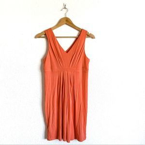LOFT Orange V-Neck Sleeveless Sundress